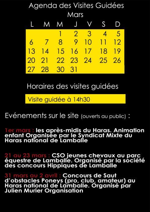 Agenda des visites guidées du mois de mars 2017