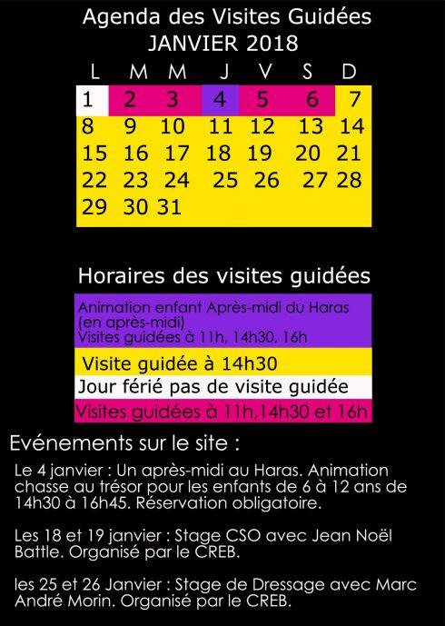 Agenda des visites guidées du mois de Janvier